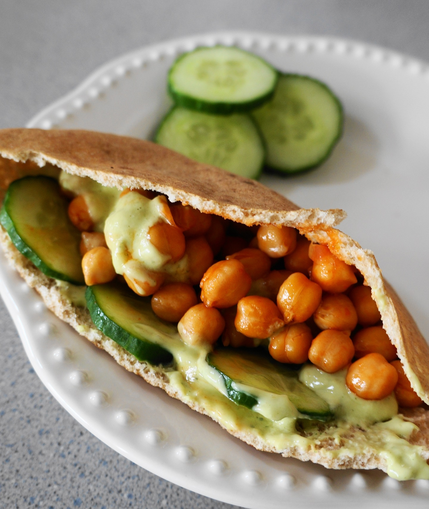 Buffalo Chickpea Pita Pockets with Avocado Ranch (V, GF) | Busy Girl Healthy World