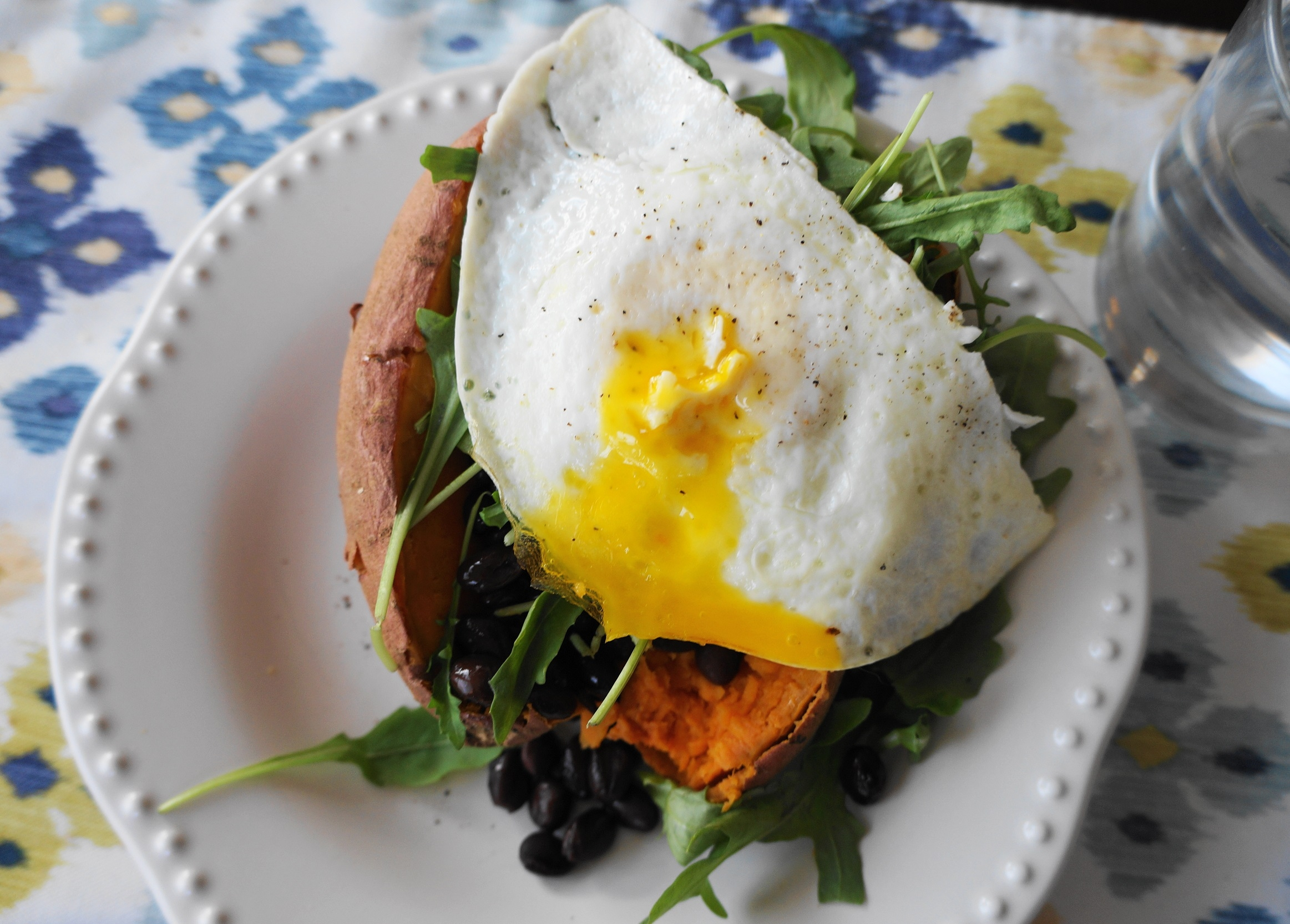 Egg, Arugula, and Black Bean Stuffed Sweet Potatoes (GF) | Busy Girl Healthy World