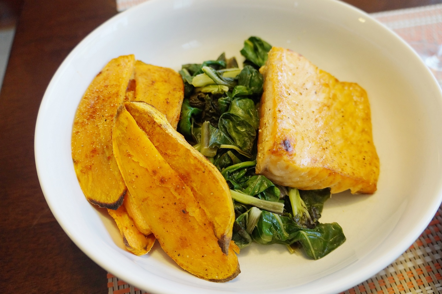 Salmon & Sweet Potato Wedges over Wilted Greens with Garlic Aioli (GF) | Busy Girl Healthy World