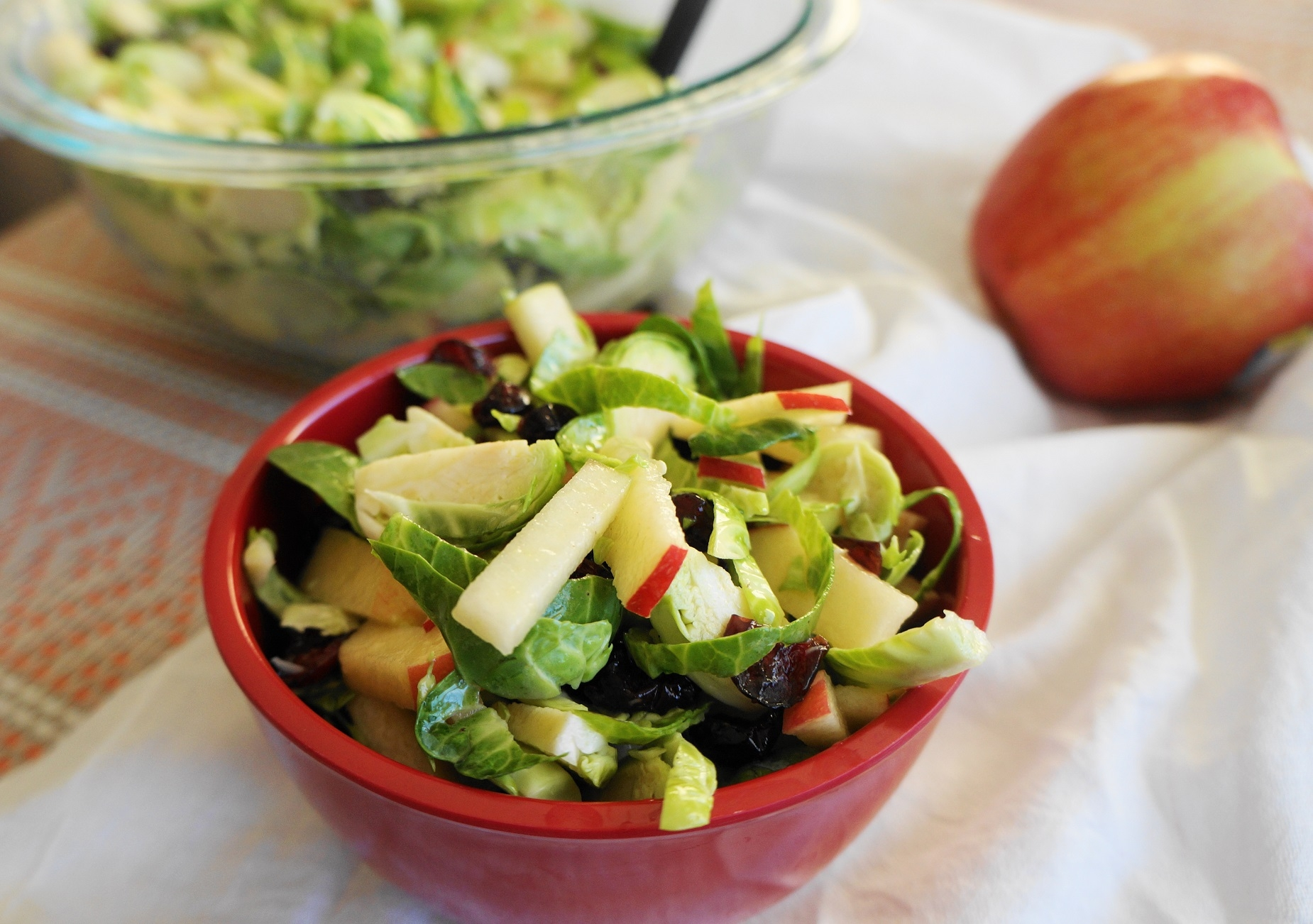 Shredded Brussels Sprout & Apple Salad (V, GF)   Busy Girl Healthy World